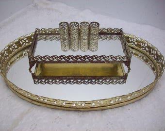 Vintage Vanity Ornate Gold Oval Mirror Tray & Rectangular Mirror Lipstick Holder