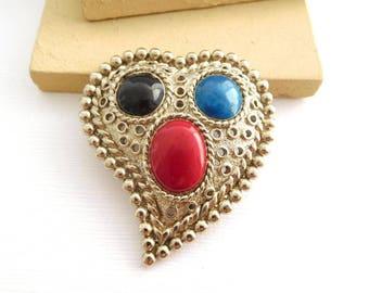 Vintage Large Silver Tone Red Black Blue Enamel Heart Brooch Pin GG26