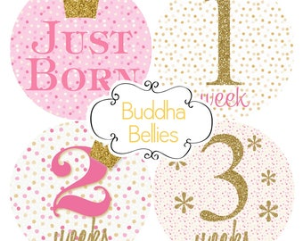 FREE NEWBORN SET Baby Girl Monthly Sticker Pink and Gold Glitter Confetti Month Baby Stickers - Month to Month Stickers Monthly Baby Decals