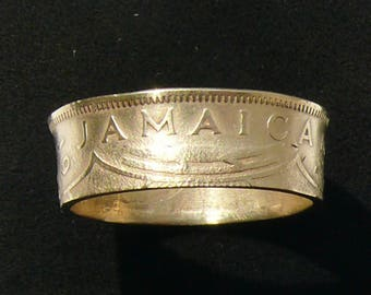 Mens Brass Coin Ring 1947 Jamaica 1 Penny, Ring Size 10 1/4 and Double Sided