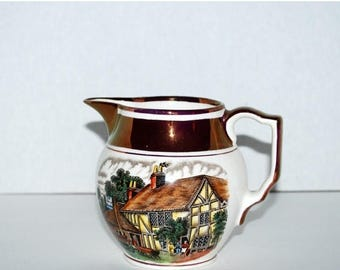 weekend sale Gray's pottery verse jug lustre ware  hand painted  large creamer