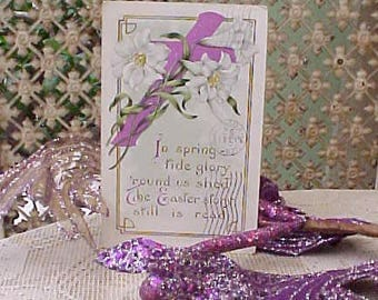 Lovely Edwardian Era Easter Postcard with Plum Colored Cross and White Lilies