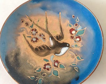Vintage Holland enamel dish swallow  hand painted