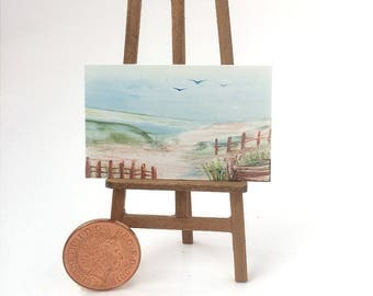 Seascape Dunes Landscape Dolls House Miniature Painting Original Art for Dolls House shown here in my own 1 12th scale art gallery