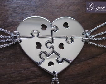 Five Piece Heart Necklace - Silver Puzzle Heart Pendants - Silver Puzzle Pieces