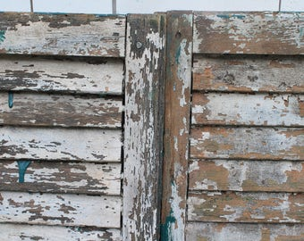 """A Pair of Vintage Old Wood Shutters  // Green and White Louvered  // 46"""""""