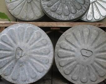 5 Vintage Galvanized Metal Garbage Bin Lids // Repurpose // Steampunk Wall Art