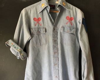 Vintage 70's Expressions by Campus Tennis Embroidered Chambray shirt