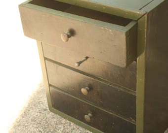 Vintage Industrial Wooden Cabinet, Industrial Decor, Home Storage, Wedding Decor, Army Green, Storage, Green and Black