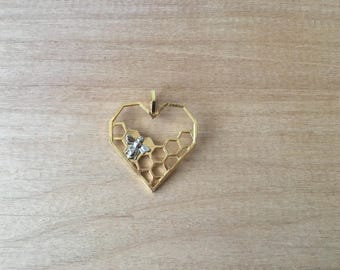 1 - Heart Honeycomb & Queen Bee Charm - Gold Toned Brass w/ Silver Accent - Layering Charms Minimal Jewelry Pendant (B2)