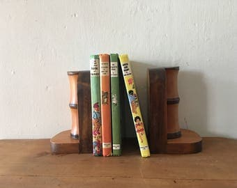 Vintage Wooden Bookends - Bamboo