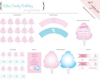 Printable Cotton Candy Party Package