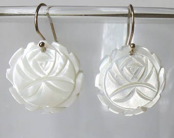 Mother of Pearl Carved Flower Earrings with Gold Filled Earwires