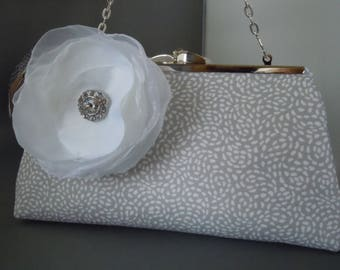 Taupe and White Bridal Clutch, Bridesmaids Clutch, Wedding Clutch