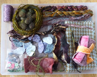 Hope jacare - Creativity pack  - hand dyed threads, fabric and other goodies - CP35