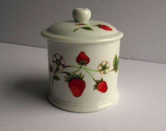 Vintage, Wild Strawberry Jam Lidded Pot, with slot for spoon
