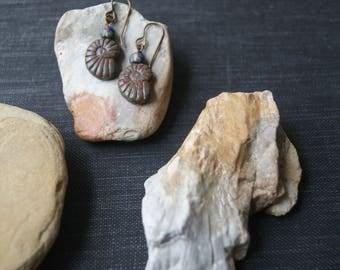 Blue Spiral earrings,Nautilus Earrings,Sacred Geometry,Ammonite fossil,Aged Blue,Spiral Earrings,Blue Earrings,Sacred Spiral,Nautilus Gift