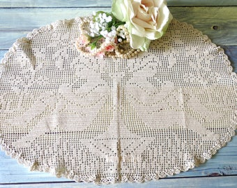 Figural Doily, Filet Crochet Panel, 20 x 13, Handmade Very Old, Cherubs or Angels Playing Trumpet, Victorian Decor, Vintage Linens