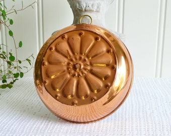 Flower copper mold, vintage Swedish kitchen decoration, ready to hang decor