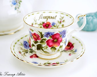 Royal Albert Teacup and Saucer Flower of the Month Series August, English Bone China Tea Cup Set with Poppy Flowers, Birthday Gift, ca 1970-