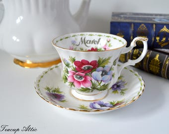 Royal Albert Teacup and Saucer Flower of the Month Series March, English Bone China Tea Cup Set with Anemone Flowers, Birthday Gift, ca 1970