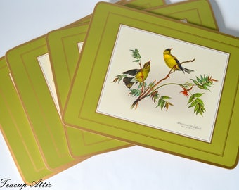 Set of 4 Pimpernel Place Mats in Original Box, Four Traditional Place Mats Song Bird  Pattern, Hostess Gift,  ca. 1950