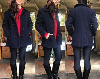 Vintage Beautiful Mackintosh Wool Pea Coat size 12 small medium
