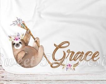Custom baby blanket, personalized baby blanket, sloth blanket, sloth baby blanket, baby gift, baby shower gift, sloth nursery