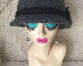 Dark Grey Vintage Inspired Crocheted Felted Cloche Flapper Hat 'Molly'