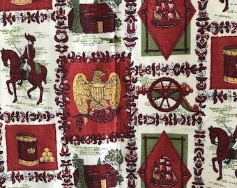 "Vintage Colonial Fabric   1 yd. 15"" x 42"""
