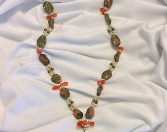 Unakite, Carnelian, Fossil & gold filled bead necklace with Unakite/gold filled pendant and earrings set.