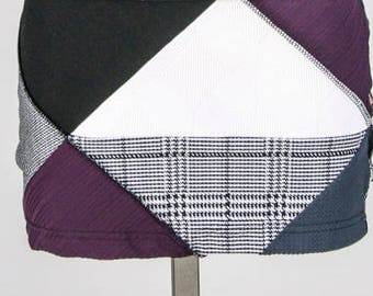 Mini skirt - Patchwork skirt - Reversible skirt - Black and purple skirt - Recycled fabric skirt - Made in Quebec - Ethical Fashion