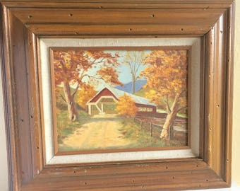 Wood Framed Canvas Painting Covered Bridge Fall Trees Nature Scene Signed Art Gold Yellow Red Big Large