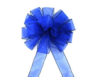 Blue Bow, / Christmas Bow / Wreath Bow / Tree Topper Bow