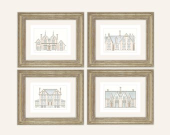 Set of 4 Architectural Prints of Pastel English Manor House Drawings on Archival Watercolor Paper