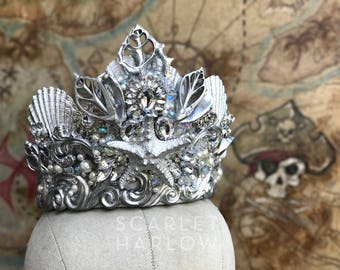 Starfish Crown - Shell Crown - Silver Crown - Festival Crown - Mermaid Crown - Bridal Crown - Mermaid Costume. READY TO SHIP