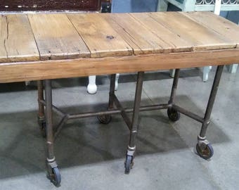RECLAIMED BARN WOOD Media Console Or Microwave Table Or Side Table.  Industrial Steampunk Salvage Furniture