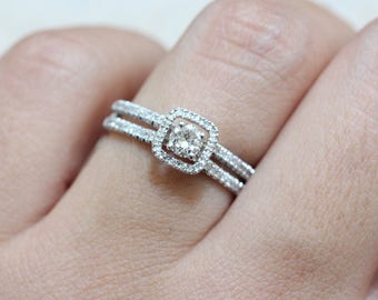 "Diamond Engagement Ring- with Pave Diamonds Halo & Split Parallel Shank ""Li-Or"""