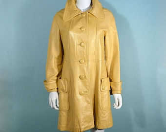 Vintage 60s Pearlescent Yellow Leather Mod Coat, Large Patch Pockets M