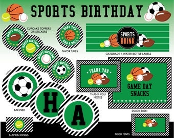 INSTANT DOWNLOAD - Sports Birthday Party Package, Sports Party Printables, Decorations
