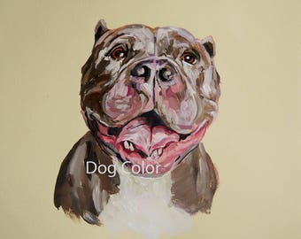 Ready to ship, Original dog painting on paper Pitt Bull watercolor