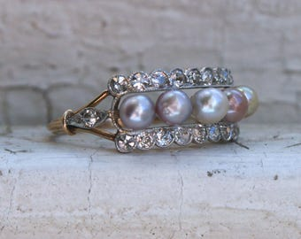 Amazing Antique 18K Yellow Gold Diamond and Pearl Wedding Ring Engagement Ring.