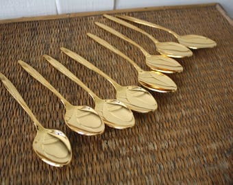 gold flatware, eight gold teaspoons, American Flair Gold Electroplate by International Silver, Hollywood Regency