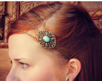 VACATION SALE chain head piece, chain headband, turquoise headband, metal headband, unique headband
