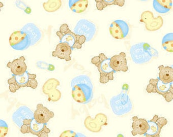 Snuggle Flannel Fabric - Baby Bear & Ducky - 16 inches