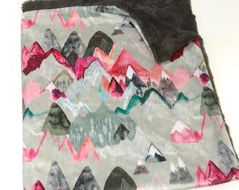 Pink Mountains Baby Girl  Blanket, Adventure Baby Bedding, Baby Girl MINKY Blanket, Grey Minky Baby Blanket, Ready to Ship Mountains Blanket