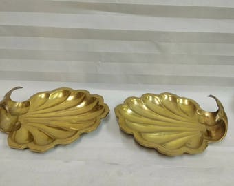Hollywood Regency Pair of  Solid Brass Clam Shell Trinket Dishes / Glam Table Decor / Coastal Brass Accents