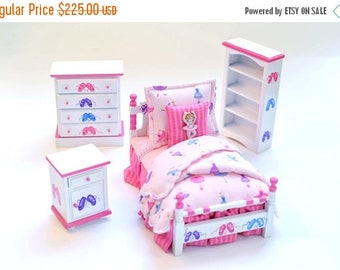 SPECIAL SALE PINK Ballerina Custom Dressed Girl's Bed Bedroom Set Dollhouse Miniature 1:12 Twin Bed Ballet Hand-Painted