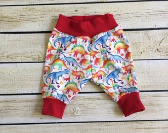 Rainbow Dinosaurs Organic Knit Pants Sizes Newborn - 6. Organic clothing for Babies, Toddlers & Children