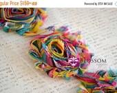 ON SALE CLEARANCE - 1/2 or 1 Yard Increment - Rainbow - Chiffon Shabby Rose Trim - diy flower headbands - wholesale craft supplies - frayed